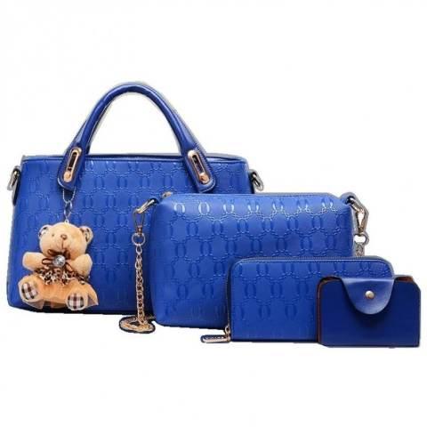 Tas Branded Wanita Elegant Bag Korean Style High Quality 4in1- Biru