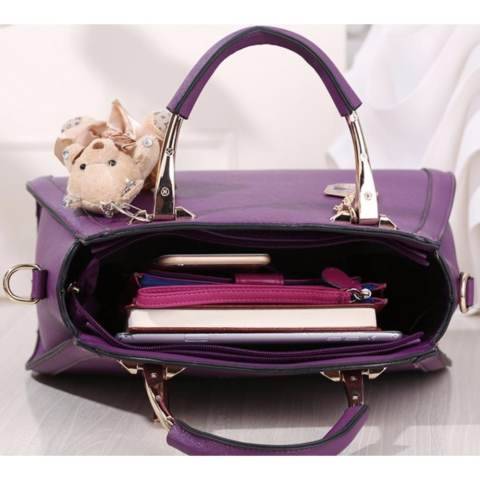 Tas Branded Wanita - Korean High Style With Wallet Eksklusif - Ungu