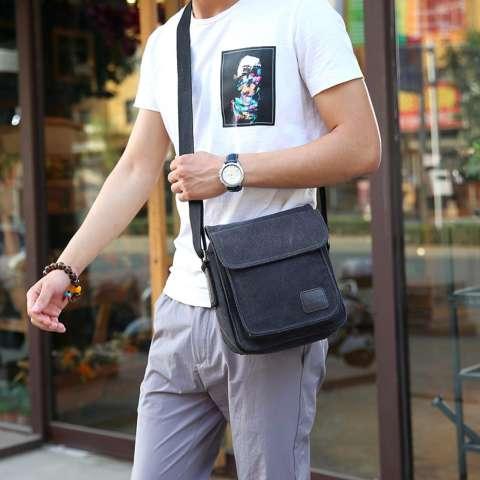 Tas Pria Import Batam Branded Model Terbaru 6672 Men Messenger Shoulder  Outdoor Travel Bag - Black f12ab776a4