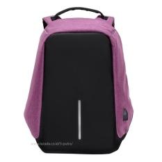 Tas Punggung / Ransel / Backpack / Tas Sekolah / Tas Kuliah / Travel Bag ( 3P Fashion BagPack Charger ) - Purple