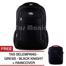 Tas Ransel Polo USA Black Cobra Tas Laptop Backpack +  Raincover + FREE Tas Selempang Gress Black Knight Tas Pria Tas Kerja Tas Bahu Tas Messenger Tas Slempang Tas Fashion Pria