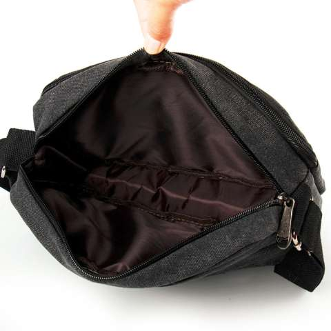 Tas Selempang Pria Kanvas Import Vintage Messenger Travel Laptop bag - Hitam