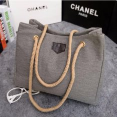 Korean Fashion Style Tas Wanita Batam Tote Bag Canvas Korea Import - Grey