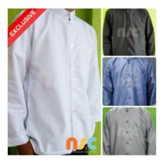 Terbaru! Baju Koko Pria Muslim Dewasa Tangan Panjang - Putih Polos