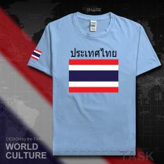 Thailand Baju Seragam Tim Katun Baju Sepak Bola T-shirt Baju Bola Penggemar Bola (Lengan pendek biru muda hitam kata)