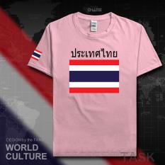Thailand Baju Seragam Tim Katun Baju Sepak Bola T-shirt Baju Bola Penggemar Bola (Lengan pendek cahaya merah muda hitam kata)