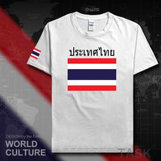 Thailand Baju Seragam Tim Katun Baju Sepak Bola T-shirt Baju Bola Penggemar Bola (Lengan pendek putih hitam kata)