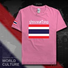 Thailand Baju Seragam Tim Katun Baju Sepak Bola T-shirt Baju Bola Penggemar Bola (Lengan pendek Rhododendron warna)