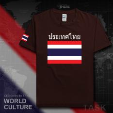 Thailand Baju Seragam Tim Katun Baju Sepak Bola T-shirt Baju Bola Penggemar Bola (Lengan pendek yang mendalam warna coklat)