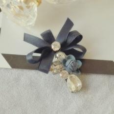 Asli Perhiasan Bunga Rhinestone Bow Bunga Jepit Rambut Sisi Clip Ponytail Klip Folder Kata Korea Aristokrat Ladies Bagian (Dark Biru) -Intl