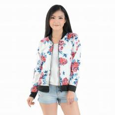 tokolobo jaket bomber wanita bunga putih zipper flow