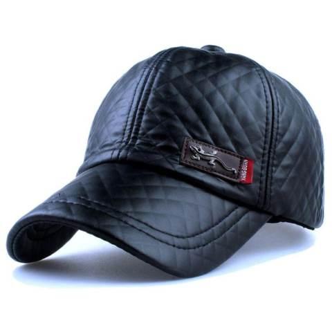 Topi Baseball Aksen Kulit Faux Leather Caps - Black
