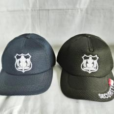 topi lapangan jaring/doblemes logo security biru/hitam full bordir