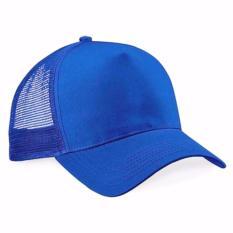 Topi Trucker Jaring Polos - biru terang
