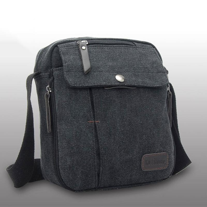 Torori - Men Messenger Bag Canvas Vintage Shoulder Bag / Tas Slempang Pria - Hitam