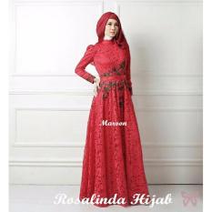 Trend Baju - Maxi Brukat Lapis Furing Bordir Uk L - Red