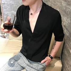 Trendi Pria Korea Fashion Style Besar V-neck Selutut Lengan Kemeja Kemeja (Hitam) baju atasan kaos pria kemeja pria