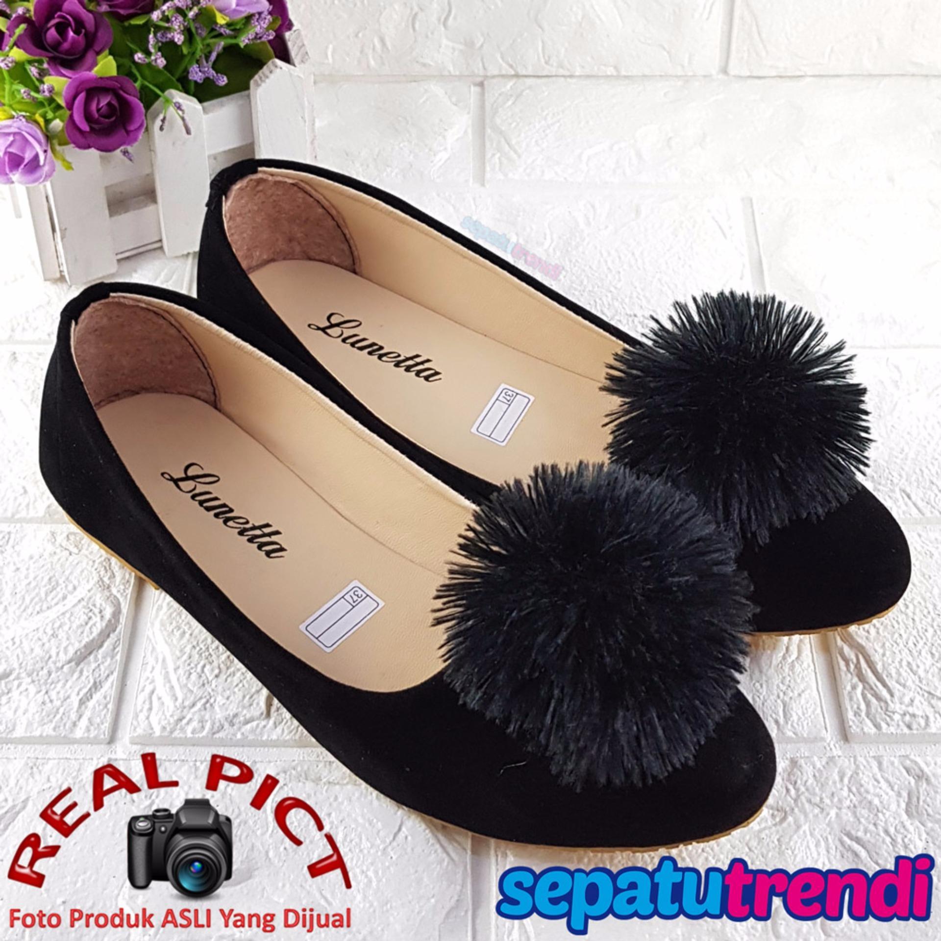 Nyaman dipakai Trendi Sepatu Wanita Flat Shoes Double Suede Pom POM