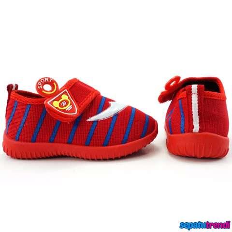 TrendiShoes Sepatu Anak Bayi Cowo Velcro Boomerang RDCNIK Merah .