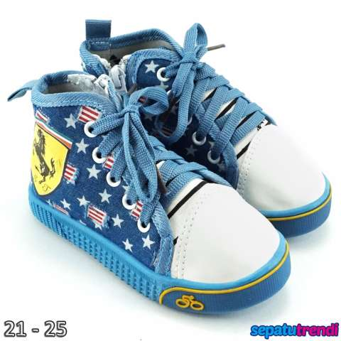 TrendiShoes Sepatu Boot Anak Cowo Denim Import Scuderia Zipper FRIRDC - Biru 25dbfdb8d1