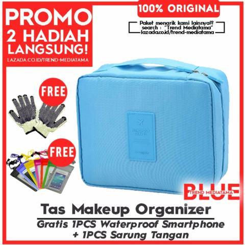 Harga Trends Premium Tas Makeup Cosmetic Organizer Waterproof Biru Bag Traveller Gratis Waterproof Sma Harga Rp