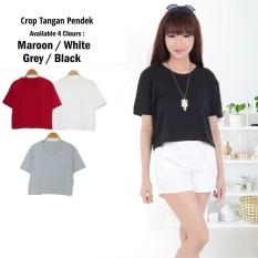MichelleStore Kaos / T-shirt / Baju / Crop Top Polos White
