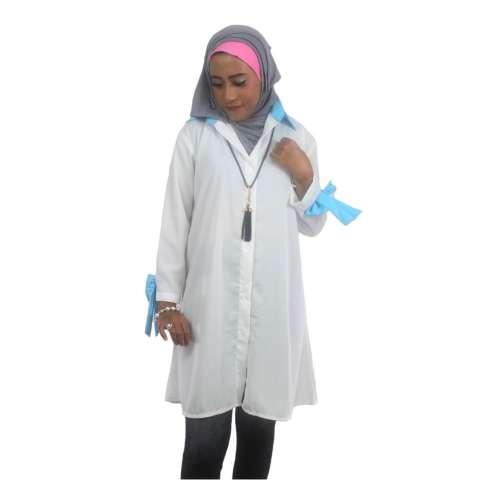 Tunik Atasan Wanita - Blouse Muslim Cleo Tunika - Putih