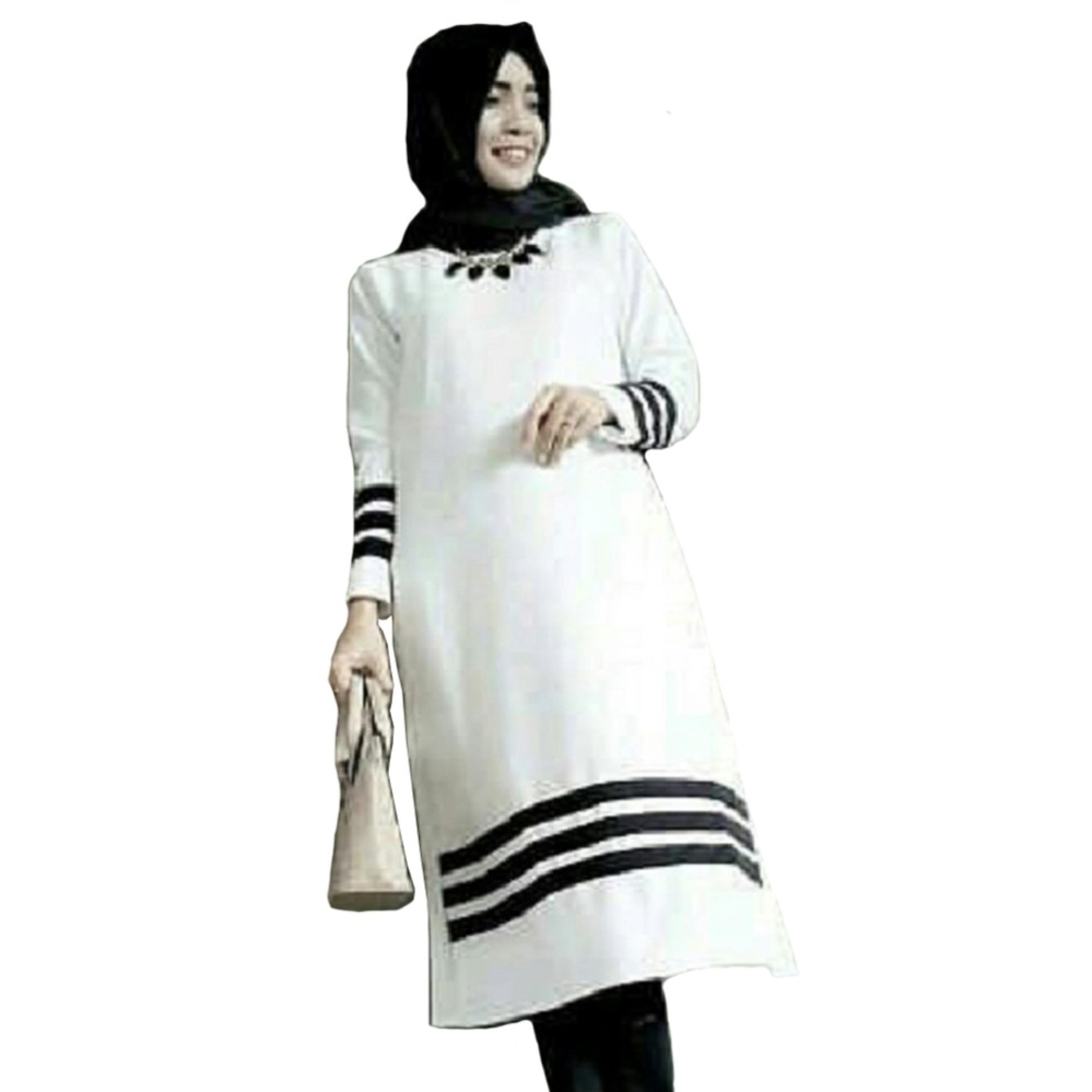 Harga Diskon Shoppaholic Shop Baju Wanita Sabrina Twistcone Hitam Atasan Ellena Peplum Blouse Tunik Muslim Kemeja Blus Ghani Long Top Putih