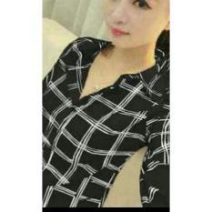 UC Kemeja Blouse YuMe Lengan Panjang/ Blouse Kotak Polos Cewek / Hem Kemeja Baju Wanita Fashion Bangkok / Blus Korean Style / Blouse Wanita Modern (MIYU) NR - HITAM