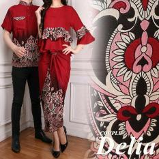 UC Kemeja Pria Traditional Couple / Gamis Muslim / Kebaya Dress Wanita Batik Pasangan/ Set Muslim (liade) AK - Maroon D2C