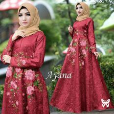 UC Gamis Muslimah Iyana/ Set Terusan Maxi / Syari Simple Elegant / Baju Muslim Wanita / Kebaya Modern Baloteli Tanpa Pasmina (anaay) SS - Maroon