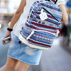 Ultimate Tas Ransel Wanita Tahan Beban Kanvas / Backpack Laptop / Ransel Sekolah Kuliah Fancy Etnic Korea Import Murah Branded Terbaru JS-802 Wanita Batik - White