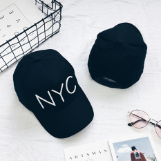 ... Ulzzang Street Wanita Musim Panas Melengkung Topi Baseball Topi Plastik NYC Hitam Dan Putih