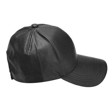 Unisex Pria Wanita Kulit Lembut Topi Baseball Pengendara Sepeda Motor Olahraga Outdoor Adjustable Topi Hitam-
