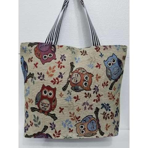 Universal tas fashion wanita tote bag canvas-motif owl