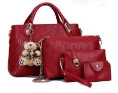 Vicria Tas Branded Wanita - Korean Style High Quality Office Bag 4in1 - Merah