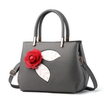Vicria Tas Ransel Branded Wanita - Korean High Quality Bag Style With Rose - GREY
