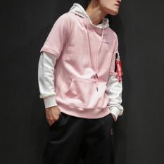 W177 Gaya Jepang Pria Beberapa Yard Besar Jas Pullover Berkerudung Kaos Sweater (Pink)