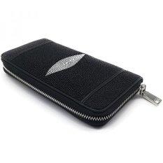 Wallet 1 Zipper Stingray Genuine Leather For Bank And Cards Size 10.5 x 19 x 2.5 cm. - Black - intl