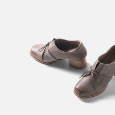 Wan Qing Tian Retro Musim Semi Baru Berkepala Persegi Bertumit Tinggi Sepatu (Abu-abu)