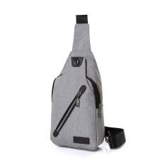 Weiyue Men Notebook USB Port Bag Charging Interface Grey Outdoor Cotton Small Chest Bag - intl