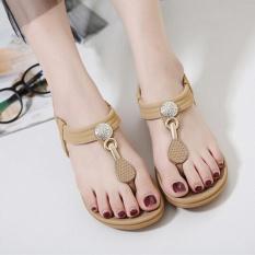 Wanita Bohe Fashion Flat Besar Ukuran Kasual Sandal Pantai Sepatu BW/35-Intl