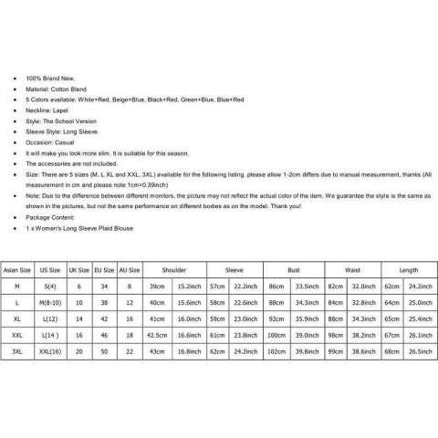 Kemeja Katun Kelepak Wanita Kasual Berkancing Atasan Blus Kemeja Flanel Kotak M ~ XXL-Intl 1