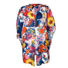 Wanita Blus Bermotif Bunga-bunga Lepas Kain Tipis Kardigan Baju Sutera