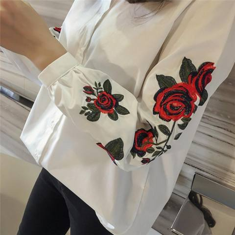 Wanita Bunga Bordir Blus Lengan Panjang Bunga Cetak Biru Atasan Putih Int: S-Internasional 4