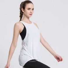 Wanita Gym Olahraga T Shirt Latihan Yoga Rompi Kebugaran Latihan Latihan Menjalankan Pakaian Olahraga Tee Tank Top Singlet Pakaian (putih) -Intl