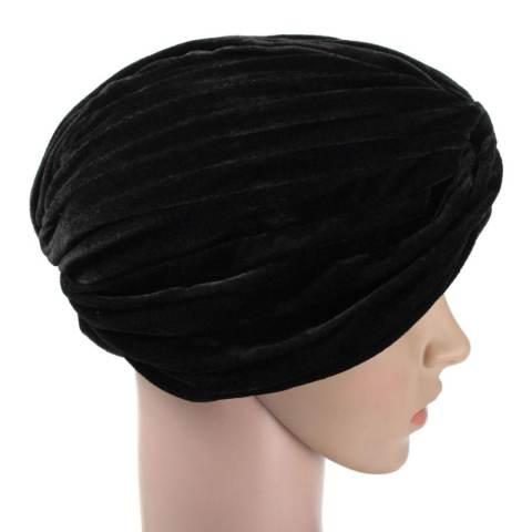 Wanita Indian Beludru Turban Cap Kepala Hat Wrap Band Rambut Cover Headban Hitam-Intl 1