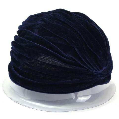 Wanita Indian Beludru Turban Cap Kepala Hat Wrap Band Rambut Cover Headban Navy Blue-Intl 5