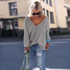 Wanita Lengan Panjang Rajutan Longgar Pullover Sweater Jumper Tops Knitwear-Intl