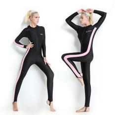 Wanita Lengan Panjang Wetsuit Swimwear Diving Suit Spring Full Body Swimsuit (Pink)-Intl